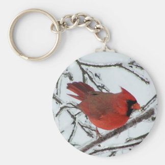 Winter Cardinal Basic Round Button Keychain