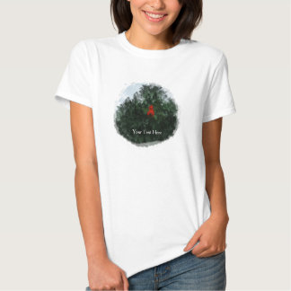 Winter Cardinal in Cedar Prim Rustic Country T Shirt