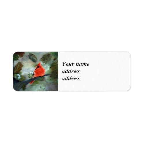 Winter Cardinal Label