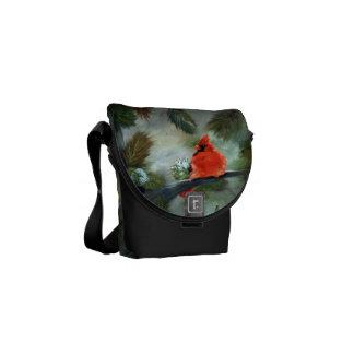 Winter Cardinal Messenger Bag
