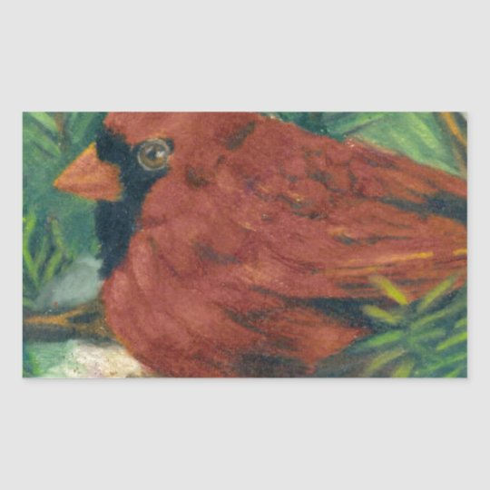 Winter Cardinal Rectangular Sticker