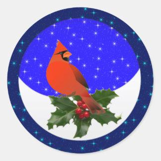 Winter Cardinal Round Stickers