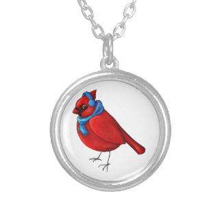 Winter Cardinal Silver Plated Necklace