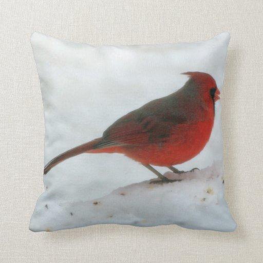 Cardinal Bird Throw Pillows : Winter Cardinal Throw Pillow Zazzle