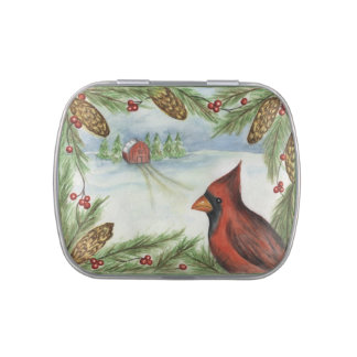 Winter Cardinal Tin Jelly Belly Candy Tins