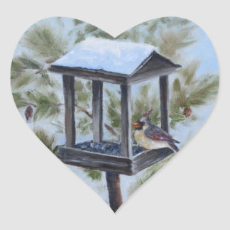 Winter Cardinal Visitor Heart Stickers