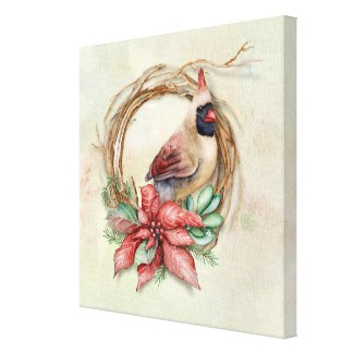 Winter Cardinal with Poinsettia Canvas Print