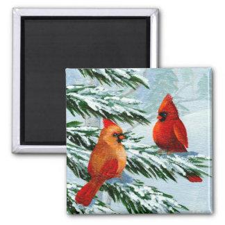 Winter Cardinals Birds Snow Creationarts Magnet