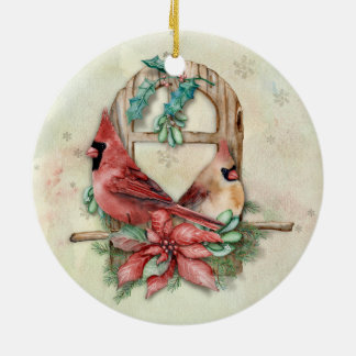 Winter Cardinals Pair with Poinsettia Ceramic Ornament