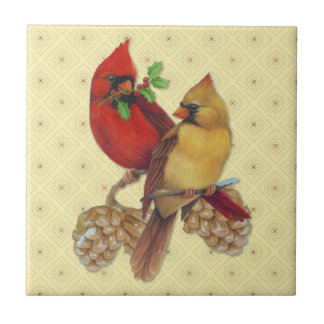 Winter Cardinals Pine and Holly Ceramic Tile