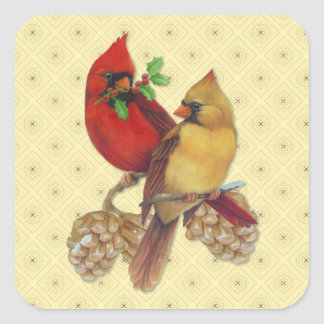 Winter Cardinals Pine and Holly Square Sticker