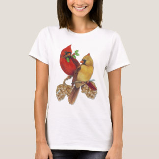 Winter Cardinals Pine and Holly T-Shirt
