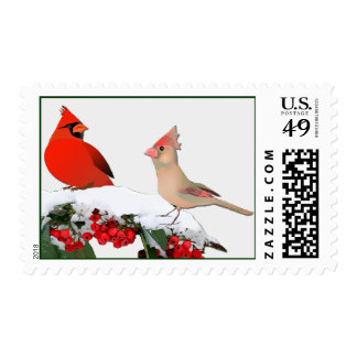 Winter Cardinals Winter Wedding Stamp