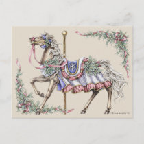 Winter Carousel Horse Drawing Post Card