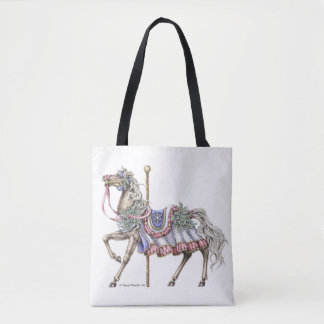 Winter Carousel Horse Pen and Ink Drawing Tote Bag