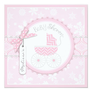 Winter Carriage and Snowflake Print Baby Shower Card