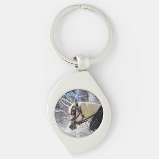 Winter Carriage Horse Keychain