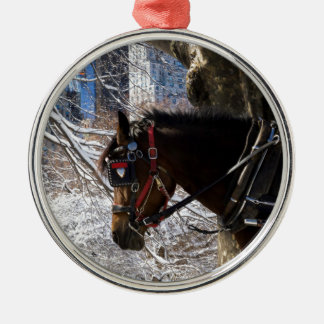 Winter Carriage Horse Metal Ornament
