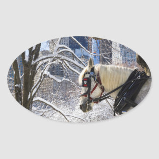 Winter Carriage Horse Oval Sticker