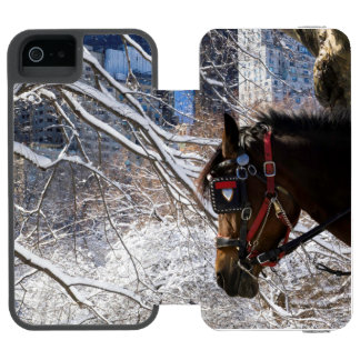 Winter Carriage Horse Wallet Case For iPhone SE/5/5s