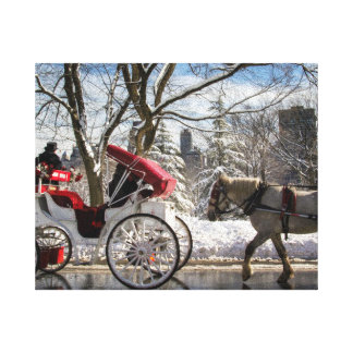 Winter Carriage Horses Canvas Print