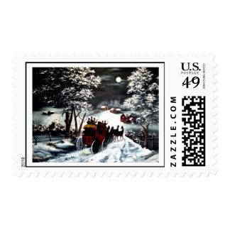 Winter Carriage Ride Postage
