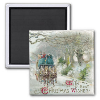 Winter Carriage Ride Vintage Christmas 2 Inch Square Magnet
