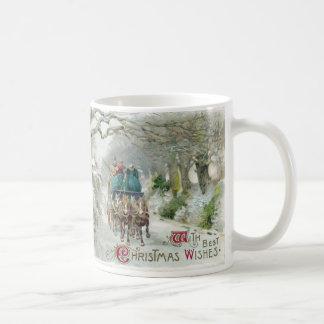 Winter Carriage Ride Vintage Christmas Coffee Mug