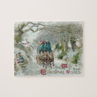 Winter Carriage Ride Vintage Christmas Jigsaw Puzzle