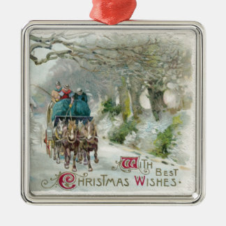 Winter Carriage Ride Vintage Christmas Metal Ornament