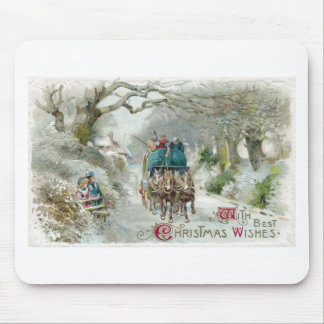 Winter Carriage Ride Vintage Christmas Mouse Pad