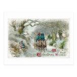 Winter Carriage Ride Vintage Christmas Postcard