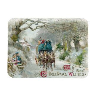 Winter Carriage Ride Vintage Christmas Rectangular Photo Magnet