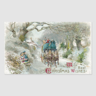 Winter Carriage Ride Vintage Christmas Rectangular Sticker
