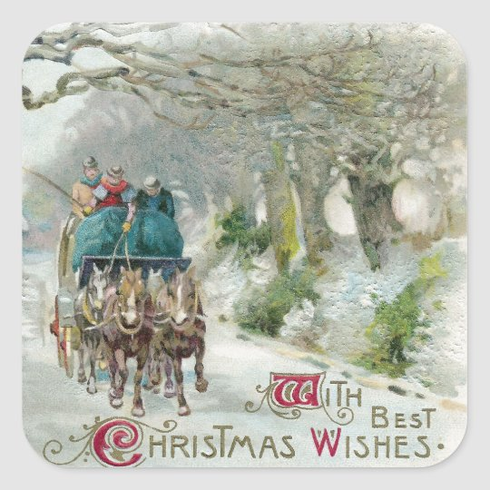 Winter Carriage Ride Vintage Christmas Square Sticker