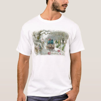 Winter Carriage Ride Vintage Christmas T-Shirt