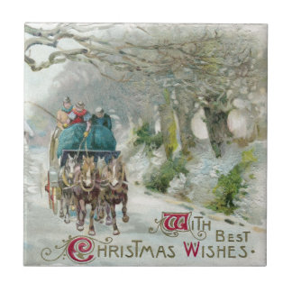 Winter Carriage Ride Vintage Christmas Tile