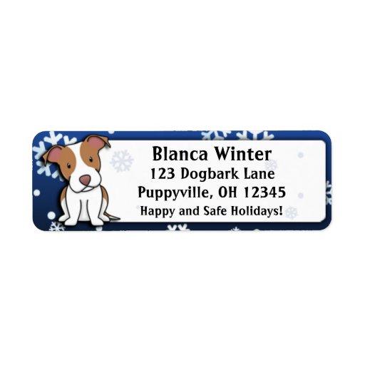 Winter Cartoon American Pit Bull Terrier Custom Return Address Labels