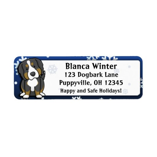 Winter Cartoon Bernese Mountain Dog Custom Return Address Labels