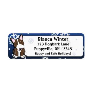 Winter Cartoon Brindle Bull Terrier Return Address Label