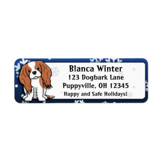 Winter Cartoon Cavalier King Charles Spaniel Return Address Label