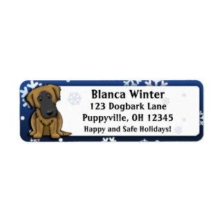 Winter Cartoon Estrela Mountain Dog Custom Return Address Labels