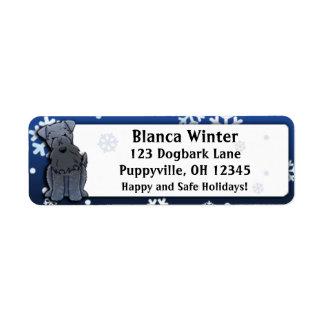 Winter Cartoon Kerry Blue Terrier Return Address Label