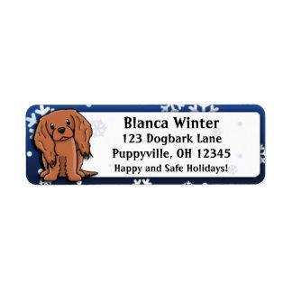 Winter Cartoon Ruby Cavalier King Charles Spaniel Return Address Label
