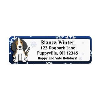 Winter Cartoon Treeing Walker Coonhound Return Address Labels