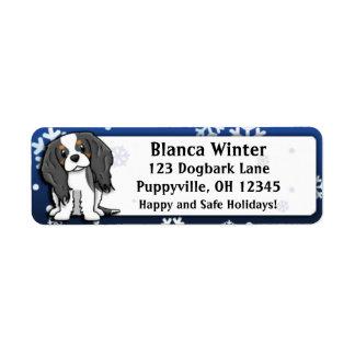 Winter Cartoon Tri Cavalier King Charles Spaniel Return Address Label
