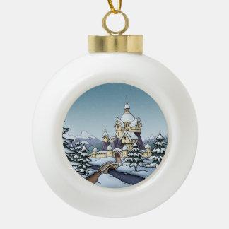 winter castle christmas holiday landscape ceramic ball christmas ornament