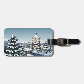 winter castle christmas holiday landscape luggage tag