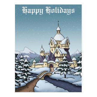 winter castle christmas holiday landscape postcard