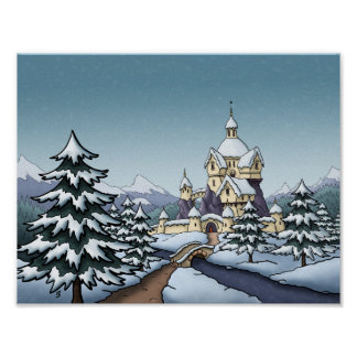 winter castle christmas holiday landscape poster